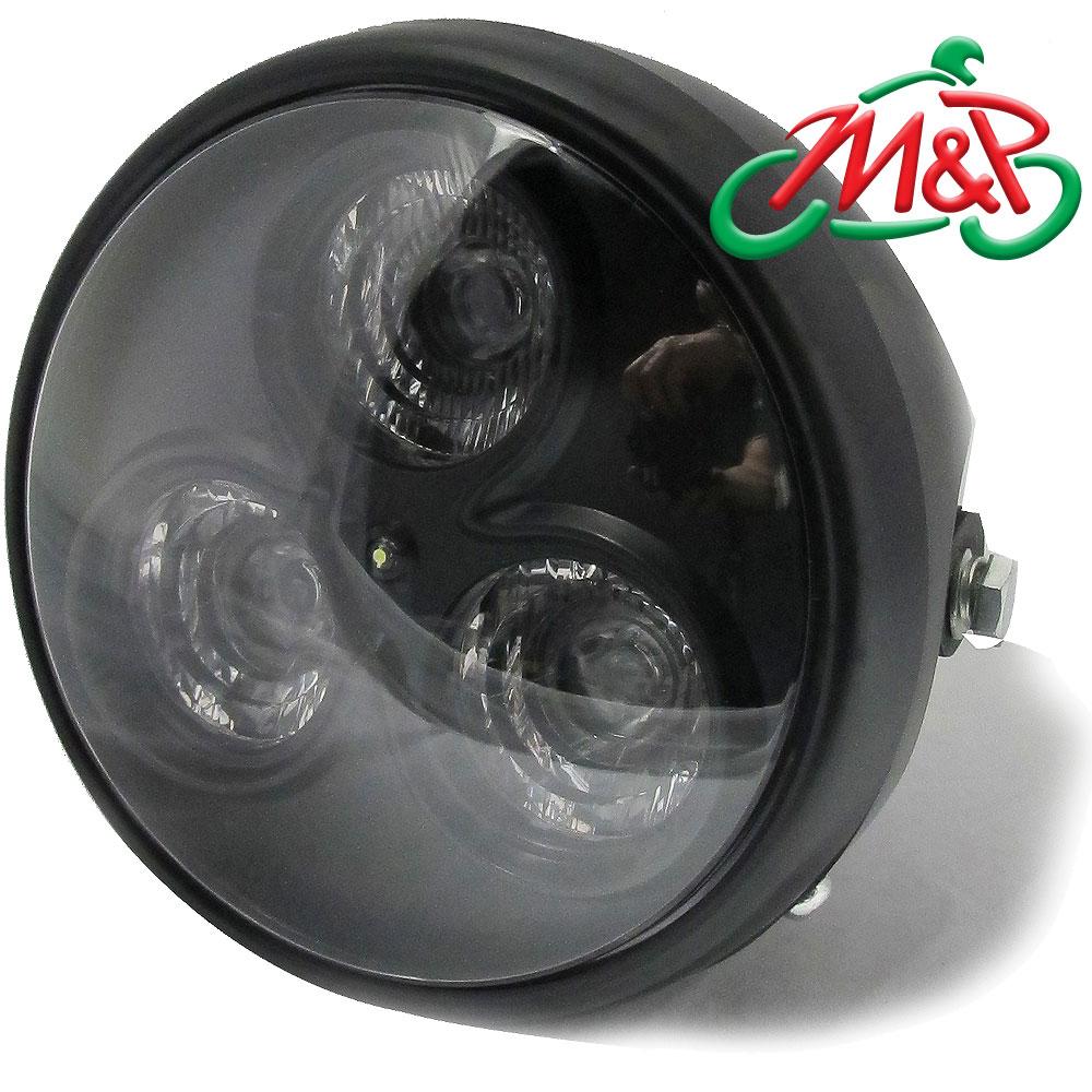 universal motorbike motorcycle 7 matt black led headlight. Black Bedroom Furniture Sets. Home Design Ideas