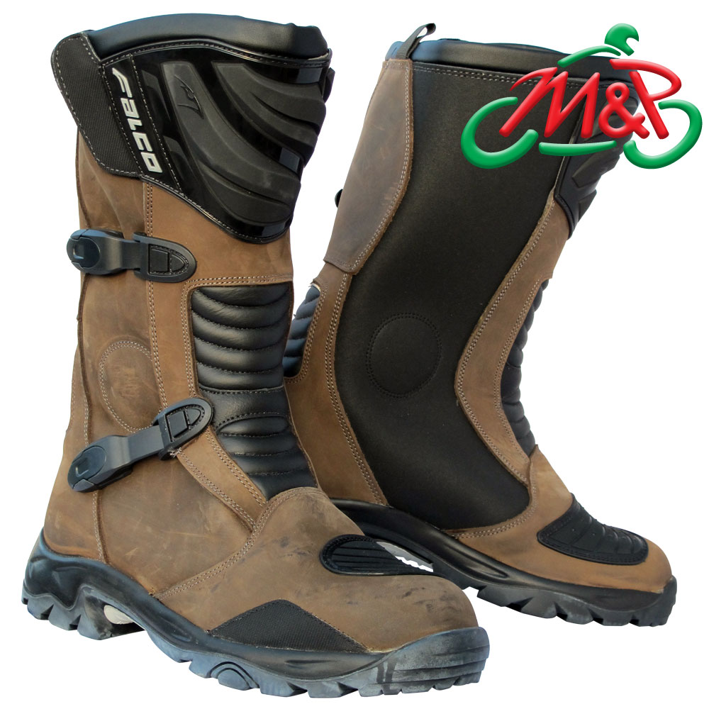 Falco Mixto Waterproof Leather Motorcycle Adventure Boots Brown ...