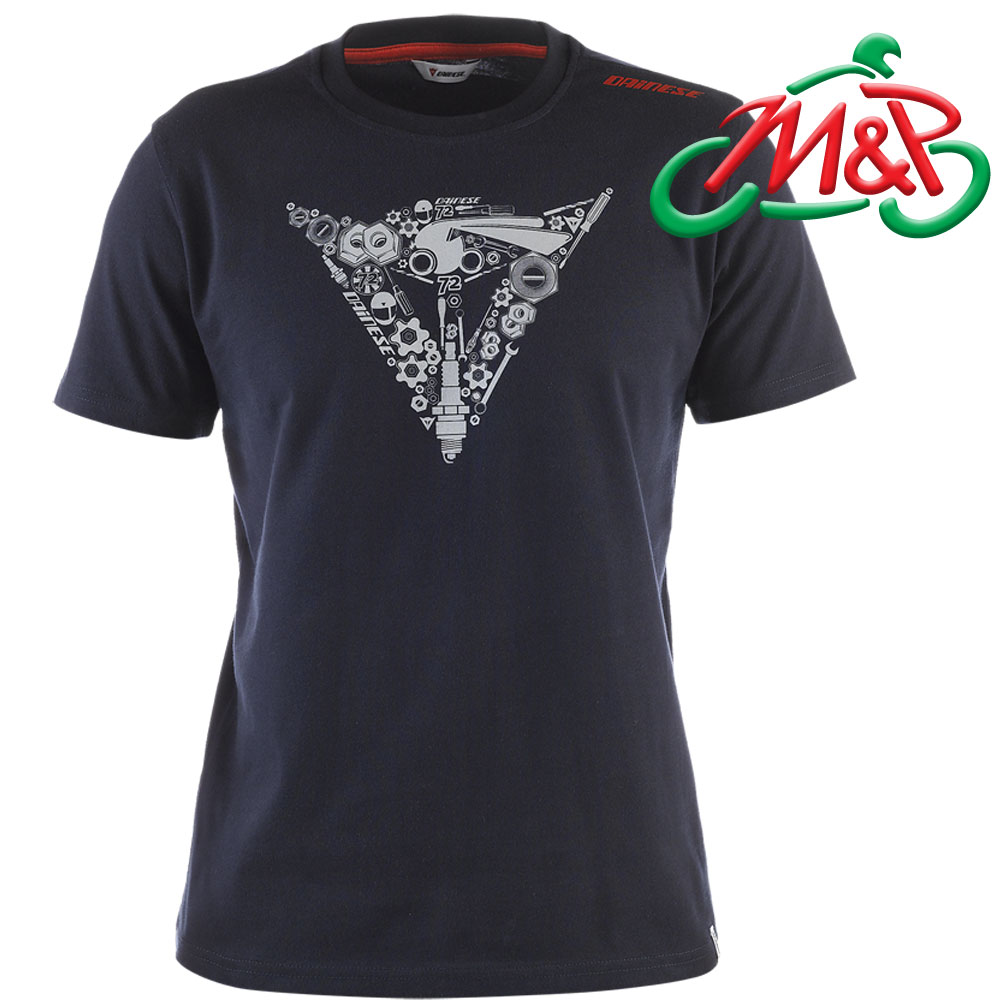 Genuine Dainese Short Sleeve T Shirt Mechanical Logo Navy
